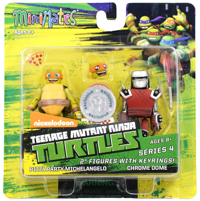 Pizza Party Mikey & Chrome Dome TRU Exclusive TMNT Minimates