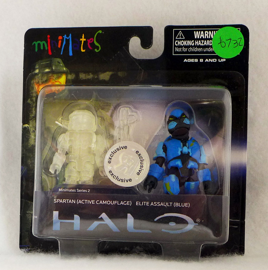 Spartan (active camo) & Elite Assault (blue) Halo Minimates