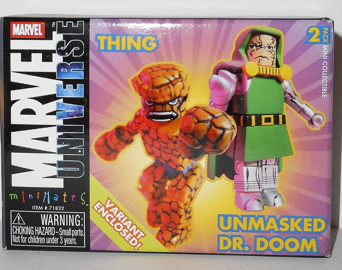 Unmasked Doctor Doom Variant & The Thing Marvel Minimates Series 5