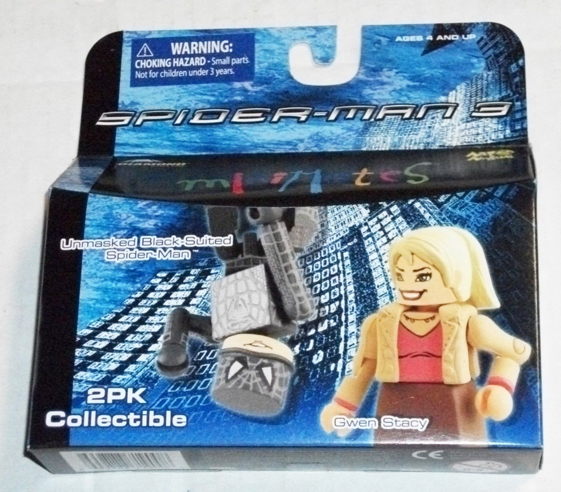 Unmasked Black Suit Spider-Man & Gwen Stacy Marvel Minimates Series 18