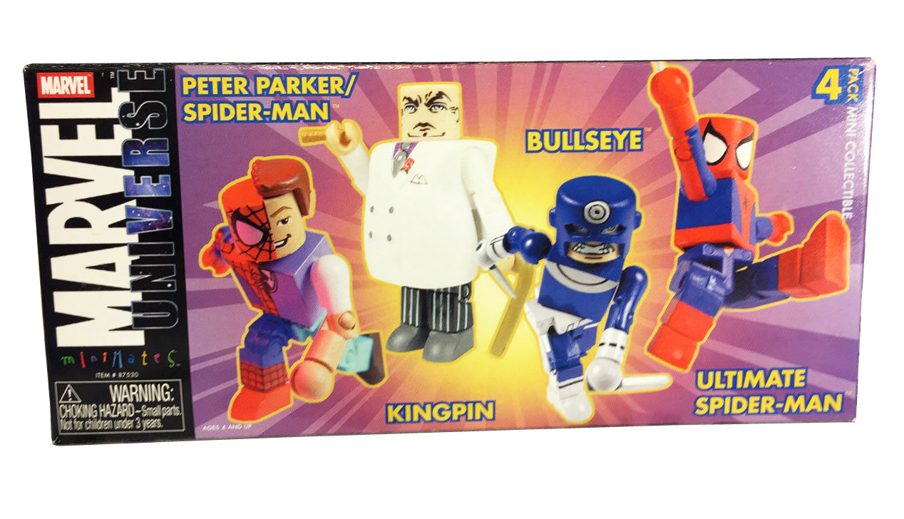TRU Exclusive Marvel Minimates 4-Pack (Peter/Spidey, Kingpin, Bullseye, Spider-Man)