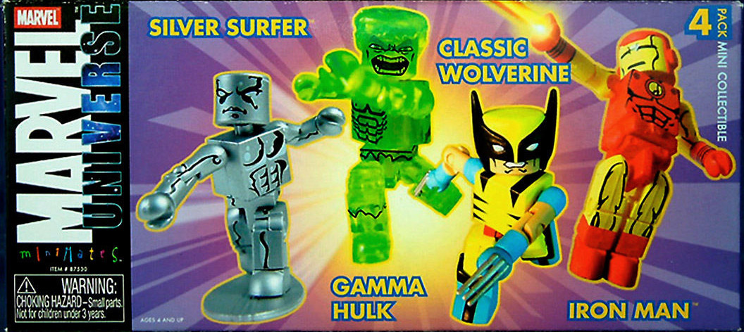 TRU Exclusive Marvel Minimates 4-Pack (Silver Surfer, Gamma Hulk, Wolverine, Iron Man)