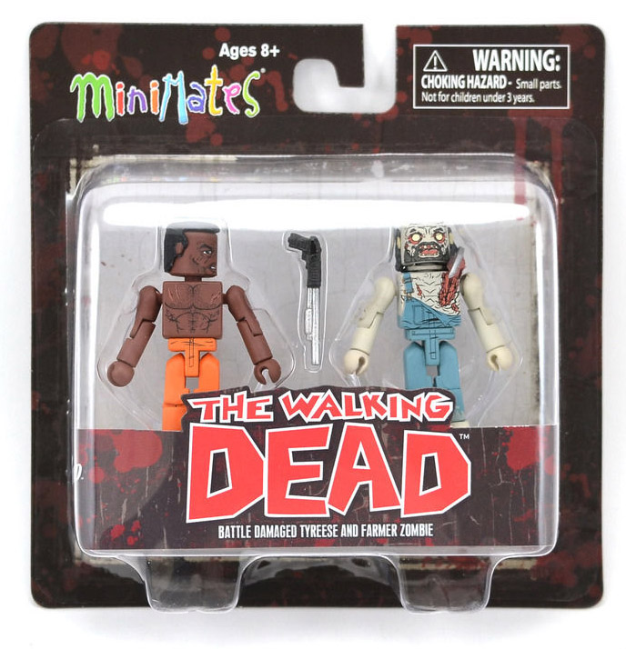 Battle Damaged Tyreese & Farmer Zombie Walking Dead Minimates Series 3