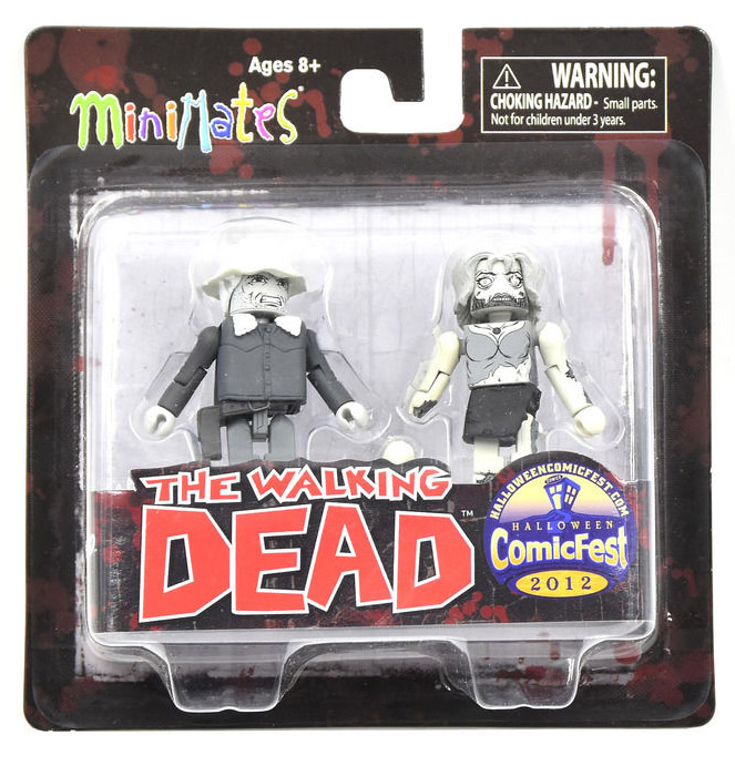 Black & White Dale & Female Zombie Walking Dead Minimates