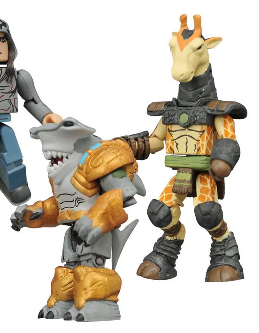 Ruminant (Giraffe) & Spyrnus (Hammerhead Shark) Battle Beasts Indy Minimates