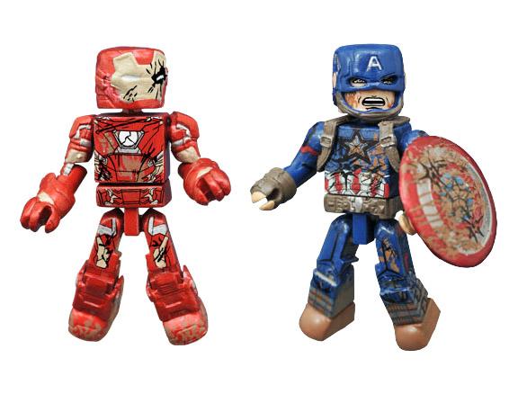 Battle Damaged Captain America & Iron Man Civil War Minimates