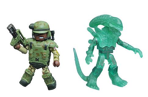 TRU Exclusive Sgt. Apone & Glowing Alien Minimates